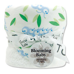 "Trend Lab - Bouquet Hooded Towel - Caterpillar - Trend Lab's Caterpillar Hooded Towel will keep your baby warm and dry after bath time. The white terry towel features a cotton percale scatter print of caterpillars and leaves throughout the hood and trim in sky blue, cornflower blue, sage green and moss green on a white background. Hooded towel measures 32"" x 30""."