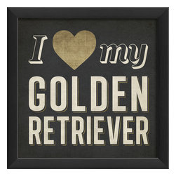 The Artwork Factory - 'I Heart My Golden Retriever' Framed Print - Is your golden retriever the best dog around? Show the world who you really love with this museum quality framed artwork. The high resolution, fade-resistant print is 100 percent made in the USA and comes ready to hang.