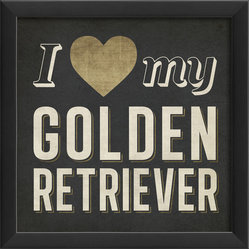 The Artwork Factory - 'I Heart My Golden Retriever' Print - Is your golden retriever the best dog around? Show the world who you really love with this museum quality framed artwork. The high resolution, fade-resistant print is 100 percent made in the USA and comes ready to hang.