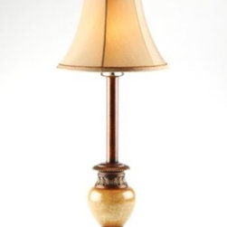 Sandstone Buffet Lamp - The Sandstone Buffet Lamp is neutral enough to work in any decor and beautiful enough to use in an entry, dining room or on a vanity dresser.  The taupe bell shade with cream lining will work well with any color decor.