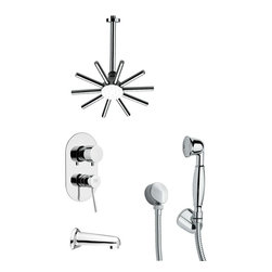 Remer - Sleek Contemporary Round Shower System - Multi function tub and shower faucet.