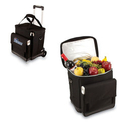 Picnic Time - New England Patriots Cellar with Trolley in Black - The Cellar from Picnic Time, Inc has been designed with functionality in mind. This 6 bottle wine carrier comes equipped with both interior dividers, for up to 6 wine bottles, and a water-proof interior cooler lining. Made from durable 600D Rip-Stop Nylon exterior with ThermoGuard insulation and foil lid, this item keeps your picnic cool for hours. On the exterior of the item is a large utility pocket. Can be separated for the trolley.; Decoration: Digital Print; Includes: 1 padded, removable interior divider (for 6 bottles), 1 removable water-resistant interior liner (for use as a cooler), and 1 trolley