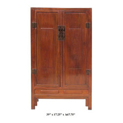 Chinese Unique Lacquer Brown Color Wooden Cabinet - This is a unique brown color cabinet. It is made of solid elm wood and has special lacquer inside the compartment and drawers. They first put the fabric on the wood panels and lacquered on the fabric to made extra protection and the rustic effect.