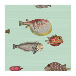 Cole & Son - Cole & Son - Fornasetti II Acquario Wallpaper - Pale Blue / Multi - The fish theme appears in some of the earliest Fornasetti work, and this design adopts some of the motifs used on decorative trays. Picked for their whimsical and naive appearance, Acquario's clownish fish are set on soft washed backgrounds.