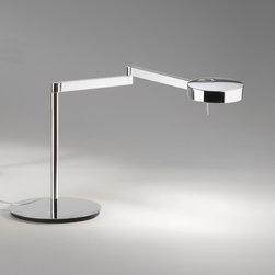Vibia - Swing 0520 Desk Lamp - Swing 0520 Table Lamp features a double jointed arm allowing for a wide 180 degree range of motion in Polished Chrome or Satin Nickel finish.  Adjustable metal diffuser with 360 degree range of motion and ability to tilt up to 45 degrees allowing for further positioning.  On-off switch located on lamp holder.  Also available in two floor and wall versions.  One 60 watt 120 volt G9 halogen lamp not included.  13.5 inches high x 28.25 inch overall arm length.  5 inch diameter x 1.25 inch high shade and 9 inch diameter base.  ETL listed.