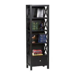 Linon Home Decor - Linon Home Decor Anna Collection Tall Narrow 5 Shelf Bookcase X-421C20168K - Whether your d&#233:cor is traditional or modern the stunning Antique Black Anna Bookcase will blend seamlessly into your home.   Five shelves (including the top) offer ample room to display your favorite art objects or keepsakes, and the drawer provide convenient storage for your magazines, remotes, or other items.