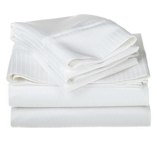 1000 Thread Count Egyptian Cotton Full White Stripe Sheet Set - 1000 Thread Count Egyptian Cotton oversized Full White Stripe Sheet Set