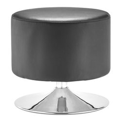 ZUO MODERN - Plump Ottoman Black - Thoroughly modern, the Plump ottoman provides a cool and clean pop for any space. The body is leatherette and the swivel base is chrome.