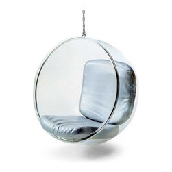 Fine Mod Imports - Bubble Hanging Chair with Polished Chrome Bas - Made of acrylic and polished Chrome base . 41 in. W x 32 in. D x 42 in. H (43 lbs.)The acrylic and Chrome plated chair remains as cutting edge in its design, despite being created over 40 years ago.