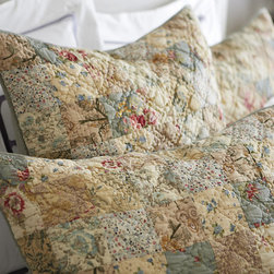 Ballard Designs - Caroline Sham - Coordinates with our Caroline Multi Quilt. 220-gram cotton fill. Machine washable. Inspired by a classic postage stamp quilt, our Caroline Multi Quilted Sham is designed to work with our latest bedding collections to layer in vintage warmth. The patchwork is hand finished from individual pieces of specially selected cotton fabrics and machine stitched with solid spa reverse. Caroline Multi Quilted Sham features: . . .