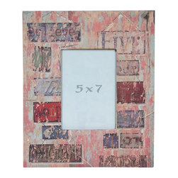 "Oriental Furniture - Vintage Signs 5x7"" Picture Frame - A wide picture frame with a distressed, vintage feel. The frame features a decoupaged print of a collection of vintage signs with words including ""Believe"" and ""Tomorrow"" in various warm shades of blue, red, and green beneath a pink, beige, and powder blue distressed overlay. Fits a 5-by-7-inch photograph. Includes a durable Plexiglass photo display panel. Easy access through back panel for photo changing."