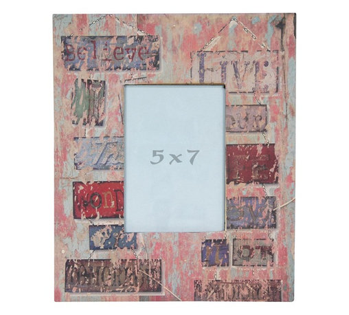 """Oriental Furniture - Vintage Signs 5x7"""" Picture Frame - A wide picture frame with a distressed, vintage feel. The frame features a decoupaged print of a collection of vintage signs with words including """"Believe"""" and """"Tomorrow"""" in various warm shades of blue, red, and green beneath a pink, beige, and powder blue distressed overlay. Fits a 5-by-7-inch photograph. Includes a durable Plexiglass photo display panel. Easy access through back panel for photo changing."""