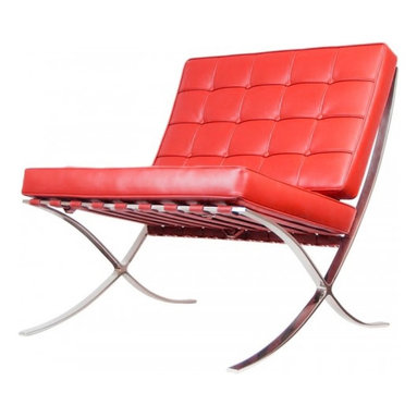 Serenity Living Stores - Barcelona Chair Reproduction - Italian Leather, Red - The Barcelona Chair was initially designed by Mies Van Der Rohe & Lilly Reich during the middle of the 19th century. The main source of inspiration for our chair comes from the 1929 German Pavilion where Mies and Lilly Reich showcased a gorgeous chair now known worldwide as the Barcelona Chair.