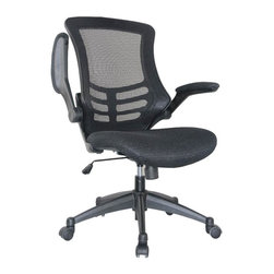 Manhattan Comfort - Manhattan Comfort Lenox Mesh Adjustable Office Chair in Black, Set of 2 - This Manhattan Comfort Lenox Office Chair provides complete comfort to people sitting for long intervals. The breathable mesh back allows airflow to prevent sweating, and padded armrests flip up or down for your convenience. The nylon mesh fabric with high density soft foam padding cradles you in a state of relaxation. The durable Nylon Baking Varnish Base is made to last, with caster wheels for easy mobility. This is a classic chair that is stylish and comfortable, and will be right at home in your office.