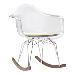 Kubikoff - Diamond Rocker Chair, Clear, Yellow Seat Pad, Chrome Legs, Walnut Runner - Diamond Rocker Chair