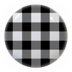 Carolina Hardware and Decor, LLC - Black Gingham Ceramic Knob - New 1 1/2 inch ceramic cabinet, drawer, or furniture knob with mounting hardware included. Also works great in a bathroom or on bi-fold closet doors (may require longer screws). Item can be wiped clean with a soft damp cloth. Great addition and nice finishing touch to any room!