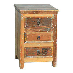 Nantucket 3 Drawer Nightstand, Medium Brown - A truly rustic-looking bedroom storage piece, this Nantucket 3-drawer nightstand features a warm brown finish with whitewashing. The highly distressed and antiqued look of the nightstand is complemented by its clean, square lines and antiqued metal ring drawer pulls. Three drawers deliver generous bedside storage while the nightstand's top is ideal to host a reading light and alarm clock.