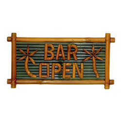 Bamboo54 - Small Bamboo Bar Open Sign with Palm Tree Des - Add graceful acents to your patio or garden with these dramatic signs. Celebrate outdoor living when you add these gorgeous signs to your patio. Perch these handsome, lustrous signs on your patio or deck. It is easy to give your patio or deck a Polynesian look. Let these delightful signs add charm to your garden, patio, or bar. Bamboo sign. BAR OPEN with palm tree. Sold in pairs only. 20 in. L x 10 in. H