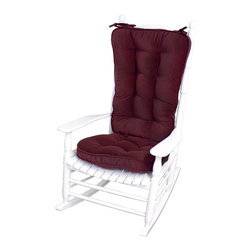 None - Burgundy Microfiber Reversible Rocking Chair Jumbo-size Cushion Set - Maximize your comfort with this jumbo rocking chair cushion set. Available in an attractive burgundy shade, the cushions deep recycled polyester fill and secure trim ensure comfort for both your bottom and back, helping you to relax and rock easily.