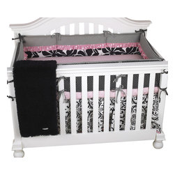 Cotton Tale Designs - Girly 4pc Crib Bedding Set - Girly 4pc crib bedding set by Cotton Tale Designs is in soft pink and black. This set is perfect for a girl's nursery with its sweet, bright pink dot trims and contemporary floral fabrics.