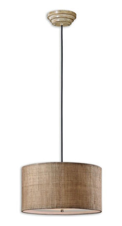 Uttermost - Uttermost Dafina Drum Shade Pendant Light in Antiqued Burlap - Shown in picture: Antiqued Burlap Weave With Natural Slubbing And A White Inner Liner. Frosted Glass Diffuser Included. Antiqued burlap weave paired with a white inner liner infuse a casual look with sophisticated appeal. Frosted glass diffuser included.