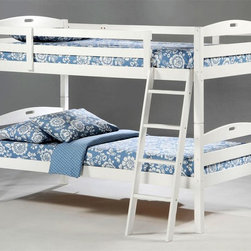 Night & Day Furniture - White Finish Sesame Solid Wood Twin Over Twin - Twin Over Twin Bunk Bed includes Headboard, Footboard, Posts, Rails/Ladder, and Slat. 100% Malaysian Rubberwood construction. Can be used as two separate beds. Engineered for economy. Built for the usual abuse. Sesame's solid hardwood frame is naturally strong and sturdy. Sesame Twin Twin Bunk Bed comes with a limited 5 year warranty. White finish. 80.2 in. W x 41.9 in. D x 60.4 in. H. Bunk Bed Warning. Please read before purchase.. NOTE: ivgStores DOES NOT offer assembly on loft beds or bunk beds.