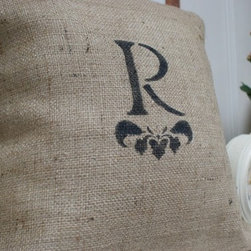 Monogrammed Burlap Pillow Cover by myadobecottage on Etsy - This pillow combines several of our favorite trends: Parisian, Flea Market, Monogram, Texture, and Burlap. It's a wonderful way to give a personalized handmade gift.