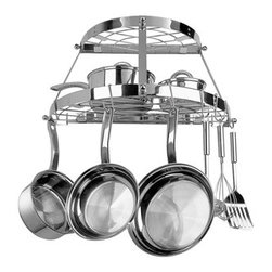 "RANGE KLEEN MFG., INC. - RANGE KLEEN CW6004R Double Shelf Wall Mount Pot Rack (Stainless Steel) - � Includes 3 wall screws, 3 wall anchors & 8 pot hooks;� Dim: 12""H x 24""W x 11""D;� Stainless Steel"