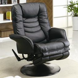 Coaster - Casual Swivel Recliner - Casual style. Black leatherette upholstery. Sleek, padded flair tapered arms. Extra padding and tiered seat back with accent stitching. Round base with a swivel function. Dual rocker and reclining feature for preferred method of relaxation. External handle releases reclining mechanism. Seat Height: 19 in.. Seat depth: 20 in.. Overall: 35.5 in. L x 32.5 in. W x 42 in. H. WarrantyPlace in your living room or den for stylish comfort, tuck into a corner with a floor lamp for a cozy reading corner.