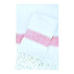 Turkish-T - Super Soft Hand Towel,  White/Pink - You'll have softness and strength in the palm of your hands. In a flat weave, the 100 percent Turkish hand-loomed cotton maintains its shape and durability wash after wash, gets softer with each use and comes in a range of colors. Pamper yourself and your guests.