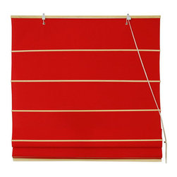 Oriental Furniture - Cotton Roman Shades - Red 60 Inch, Width - 60 Inches - - These Red colored Roman Shades combine the beauty of fabric with the ease and practicality of traditional blinds.  They are made of 100% cotton and are available in seven other stylish colors.   Easy to hang, easy to open and close.  Also available in Cream, Yellow Cream, Light Green, Light Brown, Dark Green, Black or Pink.  Available in five practical sizes, 24W, 36W, 48W, 60W and 72W.  All sizes measure 72 Tall. Oriental Furniture - WT-YJ1-23F-60W