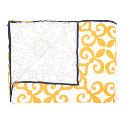 """Allem Studio - Allem Studio Morocco King Quilt - Final Sale - Bright and inviting, Allem Studio's Morocco quilt delights with a global-inspired look. This modern bed cover's maze-like tile pattern reverses to a graphic illustrated print. 110"""" x 92""""; 100% cotton, 300 thread count; 100% cotton batting; Lemon yellow and white with navy blue piping; Hand screened; Machine wash"""