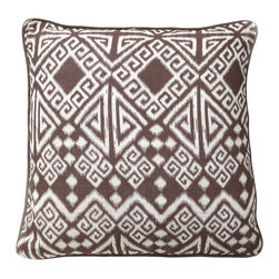 """Villa - Tangier Brown Pillow Set of 2 - Rich and expressive, the Tangier pillows assume the rich Moroccan style of their namesake. Iconic Greek key and chevron combine with geometric shapes to form their dynamic pattern in earthy brown. 22"""" Sq; Set of two; 100% linen; Solid brown piping; Includes 95/5 feather down pillow insert; Hidden zipper closure; Hand wash"""