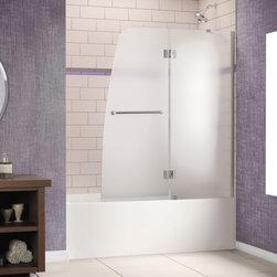 "DreamLine - DreamLine SHDR-3148586-01-FR2 Aqua Tub Door - DreamLine Aqua 48"" Frameless Hinged Tub Door, Frosted 1/4"" Glass Door, Chrome Finish"