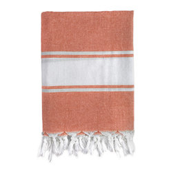 Nine Space - Classic Fouta Towel, Orange - Foutas have a long, rich heritage. Originally used in Turkish bath houses, this modern take adds a pop of personality wherever you use it — in the master bath, draped on the back of a chair or spread across a table. Made from ecofriendly bamboo, it's highly absorbent, breathable and ultra soft.