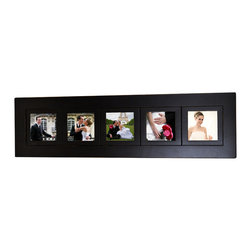 MyBarnwoodFrames - 5-opening Multi-picture Collage Frame with Five 5x5 photo openings, Black Wood - Five side by side frames (each with a 5x5 inch photo opening) make up this multi-opening collage picture frame. Handcrafted in the USA from solid poplar wood, painted black with a lacquer finish. Edges are hand-sanded with paint buffed off to reveal the natural wood undertones and give the frame edges texture when it is hanging on the wall. The buffed edges are not intended to make the frame look worn; Rather, they allow the frame edges to catch the light and reveal the details of the frame edges. Glass and cardboard backings are included. Flexible push points hold your images in place. Pre-installed hardware allows the frame to hang either horizontally or vertically. Outer 1/4 edge of your photograph will be covered by the frame edge, so the viewable photo area from the front of the frame is 4.5 x 4.5 inches. Outer frame molding is 2 inches wide. Inner frames are 1 inch wide.