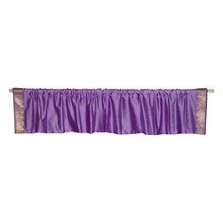 Indian Selections - Pair of Lavender Rod Pocket Top It Off Handmade Sari Valance, 43 X 20 In. - Size of each Valance: 43 Inches wide X 20 Inches drop