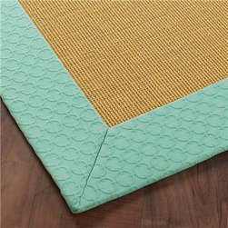 Exclusive Pressed Circle Border Sisal Rug, Aqua - The aqua/mint edging of this sisal rug is a subtle pop to an otherwise traditional rug. Borders can be creative and fun!