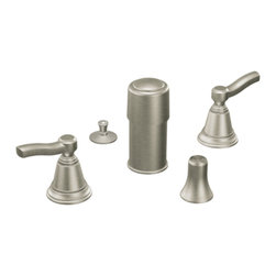 "Moen - Moen T5285BN Brushed Nickel Bidet Faucet Trim Two Lever Handle 6-16"" Center, ADA - Moen T5285BN is part of the Rothbury Bath collection. Moen T5285BN is a new style bathroom, Bidet faucet trim. Moen T5285BN has a Brushed Nickel finish. Moen T5285BN two handle widespread Bidet faucet mounts in a 3-hole 6-16"" Center bidet, with metal pop-up type waste assembly included. Diverter valve includes an integral vacuum breaker. Moen T5285BN two handle widespread trim fits the MPact common valve system, and requires Moen's 9200 MPact Bidet Rough-in valve to make this faucet complete. Moen T5285BN is part of the Rothbury bath collection with its relaxed blend of vintage design and traditional elements this collection has both casual and luxurious decorating styles. The 9200 valve can not be used with Non Rim Flush Bidet Fixtures. Moen T5285BN two lever handle provides ease of operation. Brushed Nickel has a Lifeshine finish guarantee from Moen and provides style and durability. Moen T5285BN metal lever handle meets all requirements ofADA ASME A112.18/CSA B125. Water Sense Certified. Lifetime limited Warranty."