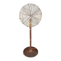 """Pre-owned Big Old Hunter Industrial Pedistal Fan 5' 8"""" Tall - This imposing piece of functional decor is the perfect way to move some air around a large room. This Hunter pedestal fan stands 68 inches tall [5 ft. 8 in.] and the fan shroud is a large 27 inches in diameter. The base of the fan measures 2 feet across. The fan probably weighs close to 100 pounds, it takes two of us to move it. It was made by the Hunter Fan & Ventilation Co. of Memphis, Tennessee , they also had a facility in Fulton, New York. The fan will operate at 2 different speeds, controlled by the switch from the back of the motor. Has a beautiful patina that only comes from decades of use."""