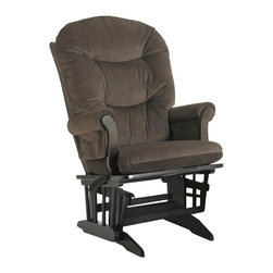 Dutailier - 27 in. Multipositional Sleigh Reclining Glider Chair (Brown) - Fabric: Brown. Ottoman not included. Exclusive glide system. Top quality sealed ball bearings. Multi position mechanism allows to stop the glider at the desired position. Reclining mechanism allow backrest to fully adjustable. Removable foam cushions and padded arms. Easy care micro fiber fabric. Frame made from hardwood. Minimal assembly required. Espresso finish. Made in Canada. Chair: 31 in. W x 27 in. D x 42.5 in. HThis Sleigh glider offers an exceptionally smooth and extra long glide motion with thick cushions and padded arms that will add class and elegance to your decor. There are no sharp edges, the finish is toxic free and this product meets all safety standards.