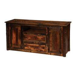 Fireside Lodge Furniture - Barnwood Widescreen Television Stand w Hickor - Choose Leg Type: HickoryBarnwood Collection. 2 Drawers. Open shelf. 2 Storage cabinets with 2 adjustable shelves each. All drawer fronts and doors are inset. All hinges are concealed European Style for a clean uncluttered look. Full-extension ball-bearing glides rated to 100 pounds. Built with authentic reclaimed Red Oak planks from 1800's tobacco barns . Clear-coat catalyzed lacquer finish for extra durability. 2-Year limited warranty. 59 in. W x 20 in. D x 29 in. H (210 lbs.). Shelf opening: 24 in. W x 16 in. D x 6 in. H. 2 Drawers: 22 in. W x 15 in. D x 5.5 in. H. 2 Doors: 16 in. W x 12 in. D x 11 in. H