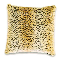 "Canaan - Faux Fur Leopard Pattern Animal Print 18"" x 18"" Throw Pillow - Faux fur leopardl pattern animal print 18"" x 18"" throw pillow. Measures 18"" x 18"" made with a blown in foam. These are custom made in the U.S.A and take 4-6 weeks lead time for production."