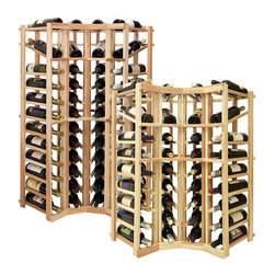 Wine Cellar Innovations - Vintner Series Wine Rack - Individual Bottle Wine Rack - Curved Corner with Disp - This curved wine rack kit makes an excellent solution to attractively store your wine where a 90 degree directional transition is needed, or just to add creativity to the design of the wine room or custom wine cellar. Purchase two wine racks to stack on top of each other to maximize the height of your wine storage. Moldings and platforms sold separately. This corner wine rack also has a built in display row. Assembly required.
