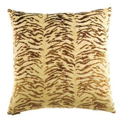 """Canaan - 24"""" x 24"""" Sabu Gold Animal Print Throw Pillow with Insert and Cover - Sabu gold animal print throw pillow with a feather/down insert and zippered removable cover. These pillows feature a zippered removable 24"""" x 24"""" cover with a feather/down insert. Measures 24"""" x 24"""". These are custom made in the U.S.A and take 4-6 weeks lead time for production."""