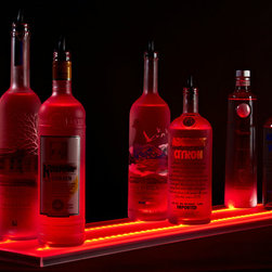 "Armana - 9"" Wide Acrylic LED Illuminated Liquor Shelf and Display, 5 Foot - Update your home bar, restaurant, lounge, club, liquor store, or commercial bar, by adding Armana Double Wide Liquor Shelves. Our shelves are the thinnest on the market and include powerful RGB LEDs that are so bright, you may need the included wireless remote control to dim them."