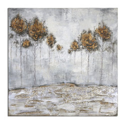 Uttermost - Iced Trees Abstract Art - Frameless, hand painted artwork on canvas. The canvas has been stretched and attached to wooden stretching bars. Due to the handcrafted nature of this artwork, each piece may have subtle differences.