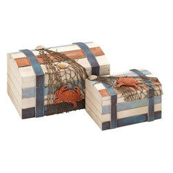 Benzara - Box accented with Shipwreck Salvage Features - Set of 2 - Designed with a rich flurry of imagination, this set of wooden boxes is sure to add an element of liveliness and artistic aura to your home decor. The stylishly designed box set consists of two attractive boxes with one large and one small sized. Made of high quality wood, the boxes are lasts long and stays strong with time. Designed on the lines of shipwreck salvage, the boxes resemble more like a classical chest on a ship. Adding to the attraction are the jaded nets and the marine life depicted sticking onto the boxes. The combination of multiple bright colors and the colorful crabs and clams add to the visual appeal. The boxes are surrounded by protective belts on the sides and are designed spaciously for accommodating more of your domestic items. With the appropriate lid and perfectly finished edges, this set of wood boxes is stylish and high on utility.