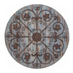 Benzara - Wall Decor Timeless and Elegant Design in Round Shape - This durable and exquisite quality wall decor is a lovely addition to your room interiors. The brown color with a base of light bluish circular wood design is apt for any setting, be it conventional or contemporary. This wall decor is so earthy in its appeal and offers an imperial feel to your surroundings. It is made from sturdy wood and flowery designs that are sure to last long for regular usage. You can easily hang it up in your living room or in the walls of your bedroom. The earthy wall decor is sure to spruce up a lot of joy to your surroundings.