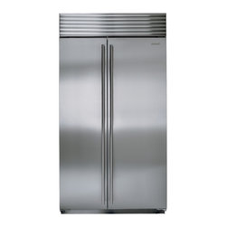 """42"""" built-in side-by-side refrigerator/freezer - Sub-Zero pioneered and remains virtually the only brand to use dual refrigeration - separate cooling systems for the refrigerator and freezer. This simple idea makes a huge difference in the freshness and flavor of foods. Ever tasted fishy or oniony ice cubes? That can't happen with Sub-Zero. Because the refrigerator and freezer don't share air, optimum preservation conditions are maintained for both fresh and frozen foods."""